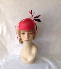 wedding photo - Red Kentucky Derby Fascinator Hat with Birdcage Dotted Veil, Melbourne Cup Hat, Derby Hats for Women, Spring Racing Hat, Ascot, Belmont
