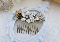 wedding photo - Bridal Hair Comb, Ivory Pearl Comb, Rhinestone Hair Comb, Floral Hair Comb, Assemblage Hair Jewelry, Collage Hair Comb, Swarovski Crystal