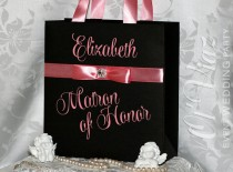wedding photo - Luxury Personalized Bags Matron of Honor Gift Bags with Blush ribbone Custom Bridesmaid Bachelorette bags Bridal favors Bridal Shower gifts