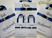 wedding photo - Small Personalized Bridesmaid Gift Bags with white lace Navy Blue ribbone and name Custom Bridesmaid Bachelorette bags Bridal Party Favors