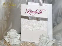 wedding photo - Small Personalized Bridesmaid Gift Bags with white lace, Silver ribbone and Burgundy name - Custom Bridesmaid Bachelorette bags Bridal Party