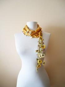 wedding photo - Mustard yellow scarf, Crochet Necklace, Mustard silk scarf, Handmade floral silk scarf, Crochet floral silk scarf, Scarf necklace
