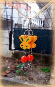 wedding photo - Rabbit earrings, Easter earrings, bunny earrings, wooden earrings, birthday gift, orange earrings, gift for her, natural, eco friendly