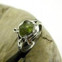 wedding photo - Rough peridot ring sterling silver green raw stone ring, artisan ring, natural peridot birthstone, August birthstone, gift for her