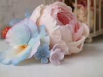 wedding photo - hairclip  with peony, bride hairpin, barrette with , flower barrette light pink, wedding jewelry, cold porcelain, polymer clay