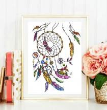 wedding photo - Dreamcatcher art, Dreamcatcher, Dreamcatcher illustration, dreamcatcher painting, fashion illustration, printable quotes, baby girl nursery