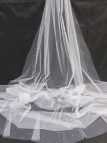 wedding photo - Cathedral Chapel Waltz Tailor Custom Handmade 1 Tier Crystal Rhinestone Wedding Bridal Cut Edge Veil