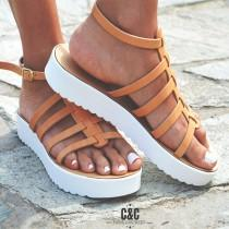 wedding photo - Leather women natural Sandal shoes, Gladiator sandals, leather shoes