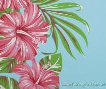 wedding photo - Tropical Flower Fabric Hibiscus Panel Design Sky Blue, HawaiianDress and All Craft Projects, HPCN10031, Ask for bulk