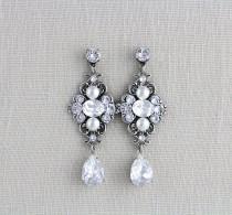 wedding photo - Crystal bridal earrings, Wedding earrings, Swarovski wedding earrings, Vintage style earrings, Swarovski crystal earrings, Antique  ASHLYN