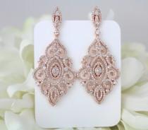 wedding photo - Rose Gold earrings, Bridal earrings, Wedding jewelry, Crystal earrings, Chandelier earrings, Statement earrings, Bridesmaid earrings