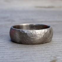 wedding photo - Recycled 950 Palladium Matte Hammered Wide Wedding Band, 7mm Wide, Comfort Fit, Eco-Friendly, Mens Band, Made To Order