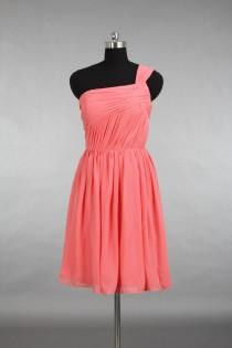 wedding photo - Junior Bridesmaid Dress, Knee Length Coral Cheap Chiffon Bridesmaid Dress