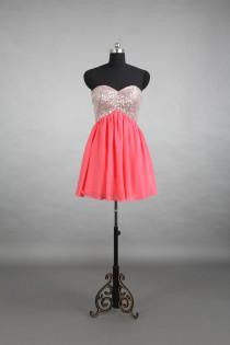 wedding photo - Coral Party Dress, Sweetheart Beading Short Chiffon Homecoming Dress