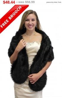 wedding photo - Faux Fux Stole, Bridal fur shrug, black faux fur stole, faux fur wrap, faux fur shawl bridal wrap