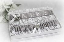 wedding photo - Handcrafted Personalized Wedding Garters - Choice of Profession and Colors Garters - Carpenter Wedding Garters - We Nailed It Garters.