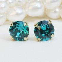 wedding photo - Peacock Green Studs,Teal Gold Swarovski Crystal Post Earrings 8mm Swarovski studs,Teal Studs ,Peacock wedding,Gold finish,Blue Zircon,GE1