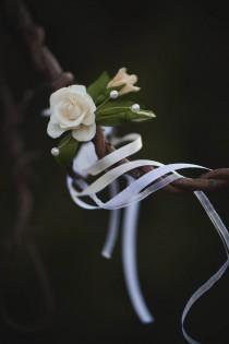 wedding photo - Wedding Bracelet - Handmade Bracelet - Rose Bracelet - Floral Bracelet - Cold Porcelain Bracelet - Flower Bracelet