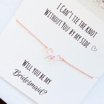 wedding photo - FREE SHIPPING, Will you be my bridesmaid, rose gold tie the knot necklace, rose gold bow necklace, tiny bow necklace, bridesmaid proposal