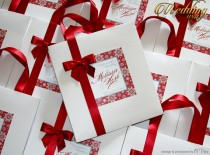 wedding photo - 25 Darck Red Winter-Snowflakes Wedding Hotel paper Bags with ribbon and tag Wedding bag Elegant Paper Bag Out of Town Bags Bridal Shower bag