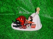 wedding photo - Cincinnati Bengals Football Fun Bride Pulling Groom to Church Funny Wedding Cake Topper- NFL Sports Fan Custom Groom's Cake toppers-1