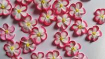 wedding photo - Pink-tipped white royal icing flowers  -- Handmade cake decorations edible cupcake toppers (24 pieces)
