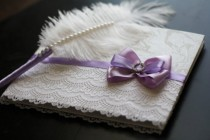 wedding photo - Purple & White SignIn Book and Ostrich Feather Violet Pen  Wedding Guest Books with Pen Set  Reception Journal  Empty pages guest book