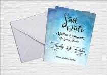 wedding photo - Blue Watercolor Save the Date Printable Invitation