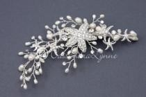 wedding photo - Beach Wedding Starfish Hair Clip with Ivory Freshwater Pearls Silver Bridal Hair Piece Bride