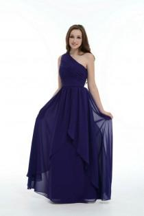 wedding photo - Royal Blue Bridesmaid Dress, One Shoulder Floor-Length Chiffon Bridesmaid Dress With Ruffle