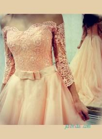 wedding photo - Sweetheart lace bodice blush tulle wedding dress