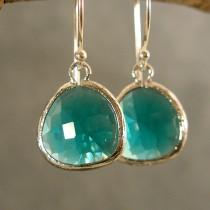 wedding photo - Teal Green Glass Silver Bridesmaids Earrings, Wedding Earrings, Silver Earrings, Bridesmaid Gifts (3821W)