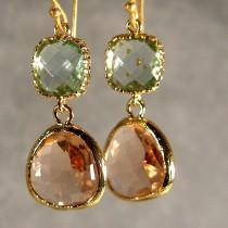 wedding photo - Prasiolite and Light Peach Glass Gold Bridesmaid Earrings, Wedding Earrings, Bridesmaid Jewelry, Bridesmaid Gift, Bridal Party (403G)