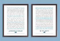 wedding photo - Custom Wedding Vows, Personalized Print, Set of two prints (song lyrics, poem, vows ) Wedding gift, Anniversary gift, Custom colors