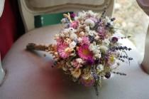 wedding photo - Autumn Wedding Bouquet pink Bridal Bouquet Rustic Bouquet Woodland Sola Flower Bouquet dried flowers wild flowers Romantic weddings