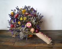 wedding photo - Wedding bouquet, Wedding dried flowers, lavender bouquet, wild flowers bouquet, dried lavender, dried billy buttons bunch, strawflower