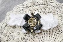 wedding photo - Anchor Garter Nautical Garter Marine Navy Garter - Military Wedding Garter Black Gold Garter Wedding Garter - Lace Garter