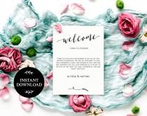 wedding photo - Welcome Bag Letter Printable, Editable pdf, INSTANT DOWNLOAD, Wedding Welcome Bag Note, Printable Wedding Itinerary, Agenda - Lilly