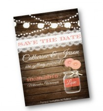 wedding photo - Coral Wedding Save the Date Coral Peach Wood Rustic mason jar card  string of lights rustic lace vintage shabby chic printable invitation