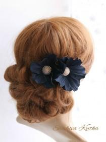 wedding photo - Navy blue flower hair clip, dark blue flower hairpins, Navy blue hair piece, Two Navy Blue fabric heir flowers, Bridal Hair Flower