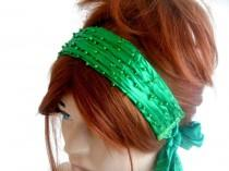 wedding photo - Green Headband, Festival Hair Band, Handmade Headband, Head Cover, Green Hair Band, Hair Accessory, Women's Fashion, Satin Hair Band