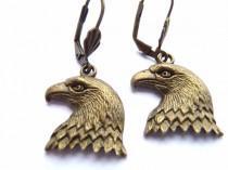 wedding photo - Eagle Earrings, Bronze Eagle Earrings, Antique Gold, Earrings, Eagle, Antique Gold Eagle, Freedom Earrings, Bronze Earrings, Small Earrings,