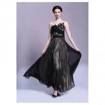 wedding photo - In Stock Elegant South Korea Chiffon & Heavy Malay Satin Bateau Neckline Ankle Length A-line Formal Dress - overpinks.com