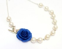 wedding photo - Bridesmaid Jewelry Blue rose, Blue Flower Necklace, For Her, Jewelry, Wedding White pearl, Blue rose Bridesmaid Jewelry, Bridesmaid Necklace