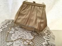 wedding photo - HL Harry Levine USA - Vintage 1950 Evening Bag - Gold Metallic Crystal Purse - Gold Fabric Handbag - Bridal Wedding Prom - Cocktail Clutch