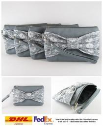 wedding photo - SUPER SALE - Set of 5 Gray Lace Bow Clutches - Bridal Clutches, Bridesmaid Clutches, Bridesmaid Wristlet, Wedding Gift - Made To Order