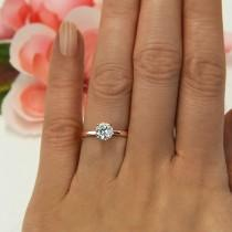wedding photo - 1 ct 4 Prong Classic Solitaire Ring, Round Engagement Ring, Man Made Diamond Simulant, Bridal Ring, Sterling Silver, Rose Gold Plated