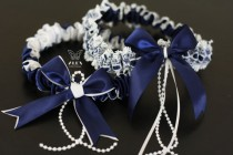 wedding photo - Navy Blue Wedding Garter Set  Dark Blue Garters  Navy Bridal Garters  Navy Toss Garters  Bridal Keepsake Garter  Something Blue