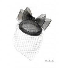 wedding photo - Black headpiece with big bow, veil and strass. Black headdress. Pill box. Bow headpiece. Wedding fascinator. Wedding accessory.