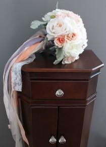 wedding photo - Pastel Rose Bouquet with Ribbon Streamers